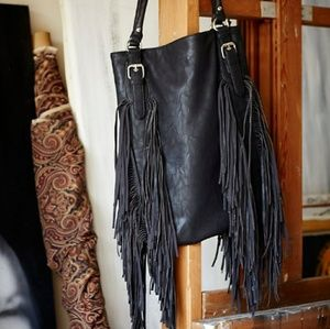 Free People Crazy Heart Fringe Vegan purse bag
